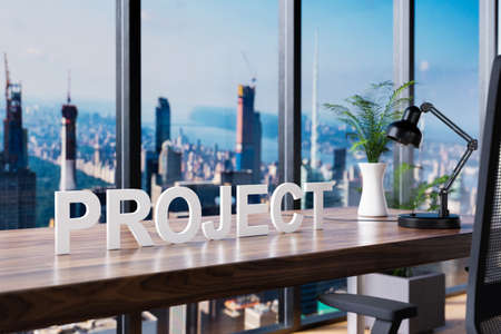 project; office chair in front of workspace and panoramic skyline view; corporate concept; 3D Illustration
