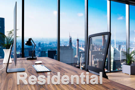 residential; office chair in front of workspace with computer and skyline view; architect concept; 3D Illustration Stock Photo