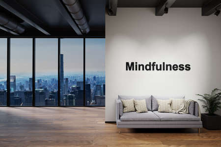 luxury loft with skyline view and vintage couch, wall with mindfulness lettering, 3D Illustration
