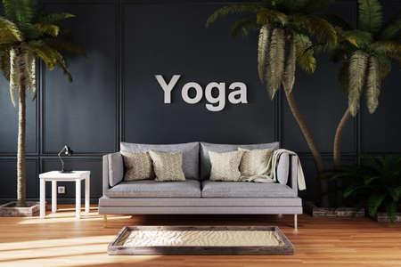 elegant living room interior with vintage sofa between large palm trees; yoga; 3D Illustration
