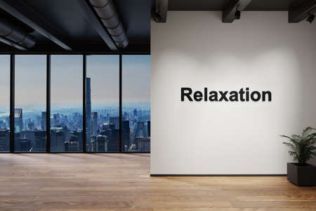 luxury loft with skyline view and wall with relaxation lettering, 3D Illustration
