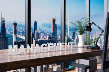 business; office chair in front of workspace and panoramic skyline view; management concept; 3D Illustration