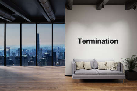 luxury loft with skyline view and vintage couch, wall with termination lettering, 3D Illustration