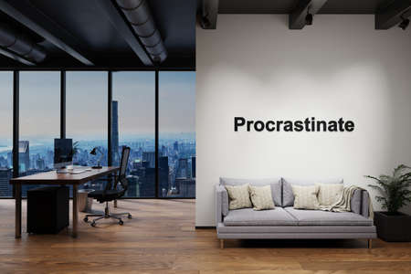luxury loft with skyline view and vintage couch and pc workspace, wall with procrastination lettering, 3D Illustration Stock Photo