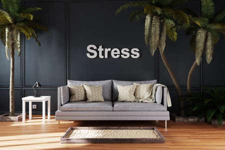 elegant living room interior with vintage sofa between large palm trees; stress; 3D Illustration