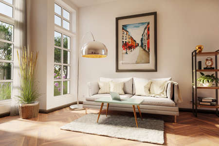 stylish minimalistic living room interior with scandinavian and industrial style decor; grey vintage sofa with teal colored coffee table and laptop; colorful watercolor painting on the wall; 3D Illustration