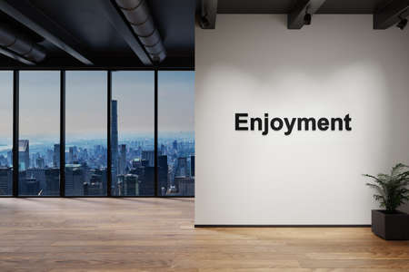 luxury loft with skyline view and wall with enjoyment lettering, 3D Illustration