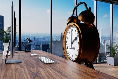 large vintage personified alarm clock sitting in front of modern workplace with skyline view; conceptual overwork working hours; 3D Illustration