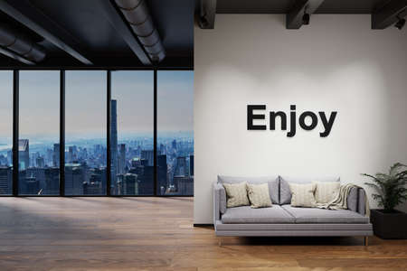 luxury loft with skyline view and vintage couch, wall with enjoy lettering, 3D Illustration