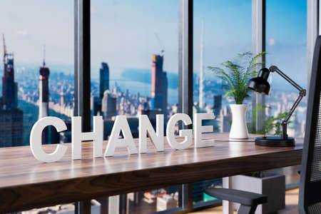 change; office chair in front of workspace and panoramic skyline view; management concept; 3D Illustration Stock Photo