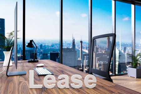 housebuilding; office chair in front of workspace with computer and skyline view; lease concept; 3D Illustration