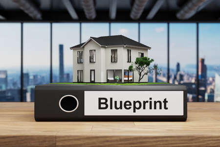 modern house villa style standing folder on wooden desk in modern office, blueprint label, 3D Illustration