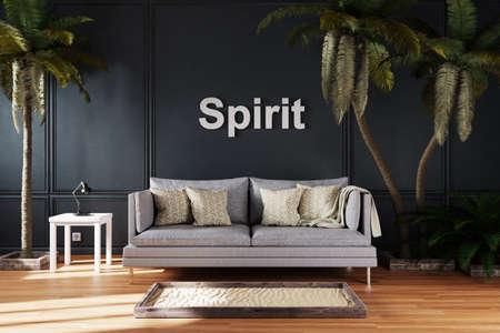 elegant living room interior with vintage sofa between large palm trees; spirit 3D Illustration Stock Photo