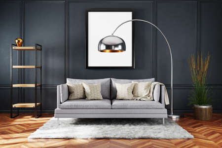 stylish minimalistic living room interior with scandinavian industrial style decor; grey vintage sofa and dark wall; large empty canvas; 3D Illustration Stock Photo