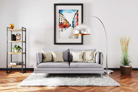 stylish minimalistic living room interior with scandinavian industrial style decor; grey vintage sofa; large colorful watercolor painting on the wall; 3D Illustration