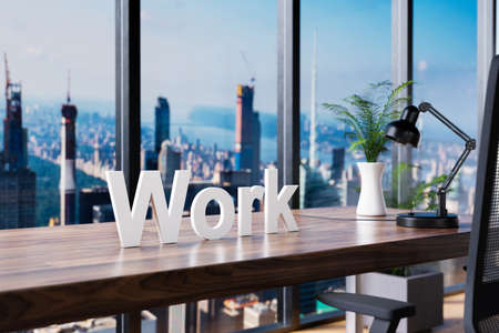change; office chair in front of workspace and panoramic skyline view; work concept; 3D Illustration