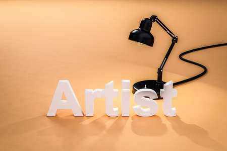 industry style desk lamp on orange colored surface with lettering artist; concept 3D online tutorial; 3D Illustration