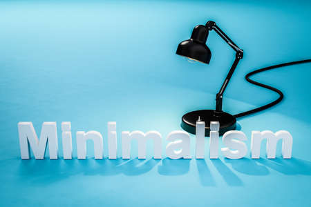 industry style desk lamp on teal colored surface with lettering minimalism concept minimalism; 3D Illustration