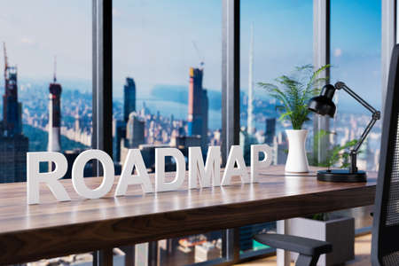 roadmap; office chair in front of workspace and panoramic skyline view; business concept; 3D Illustration Stock Photo