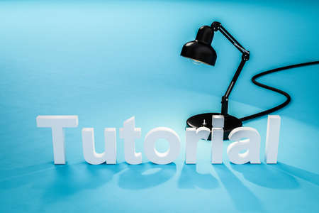 industry style desk lamp on teal colored surface with lettering tutorial; concept 3D online tutorial; 3D Illustration Stock Photo