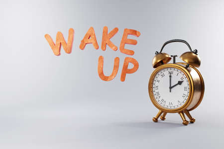 vintage retro style alarm clock with golden metal body on grey neutral background; wake up; 3D Illustration Stock Photo