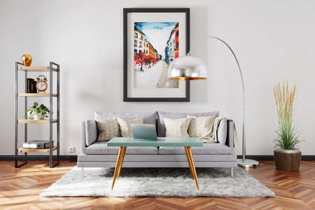 stylish minimalistic living room interior; scandinavian industrial style decor; vintage sofa; large colorful watercolor painting on the wall; 3D Illustration