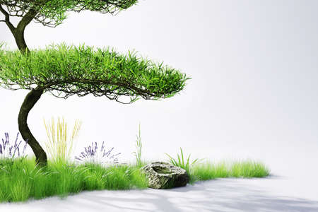 small strip of growing plants and trees, nature on grey background; conceptual; climate change; 3D Illustration
