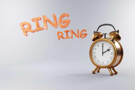 old vintage retro style alarm clock golden metal body on grey neutral background; ring wake up; 3D Illustration