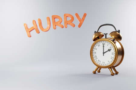 vintage retro style alarm clock with golden metal body on grey neutral background; hurry wake up; 3D Illustration