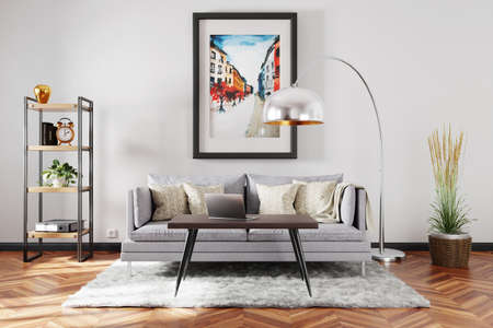 stylish minimalistic living room interior; scandinavian and industrial style decor; vintage sofa; colorful watercolor painting on the wall; 3D Illustration