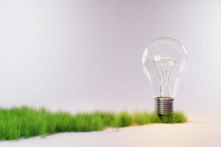 small strip of growing plants and trees standing light bulb, nature on neutral grey background; conceptual energy saving; 3D Illustration Stock Photo