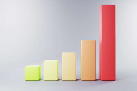 3D bar chart in multiple colors on neutral grey background; green to red; gain and win concept; 3D Illustration
