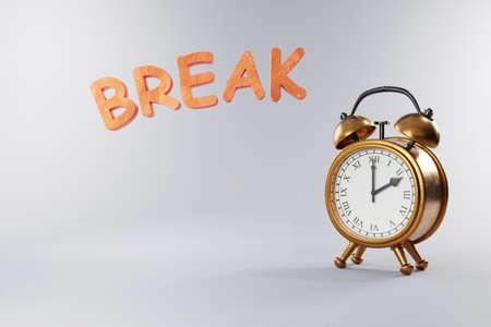 vintage retro style alarm clock with golden metal body on grey neutral background; break; 3D Illustration