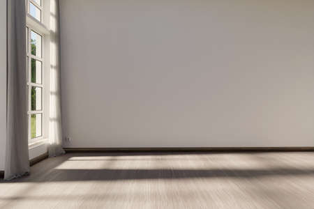 large room with white wall and window; interior background with copy space; 3D Rendering