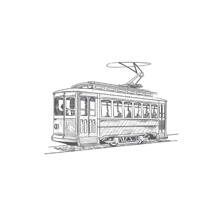 Hand drawn cable car. 矢量图像