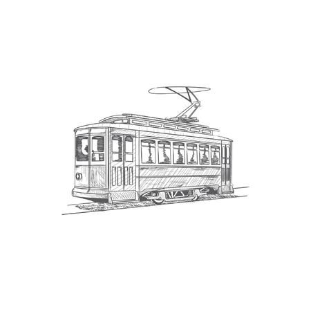 Hand drawn cable car. Illustration
