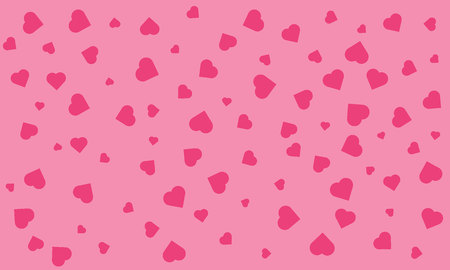 Trendy texture with a jumble of red hearts in pink background vector seamless pattern.