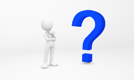 free thought: 3d human stand next to a blue question