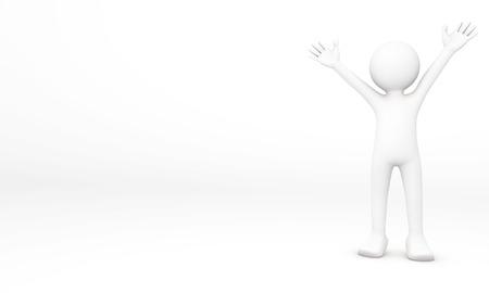 gladly: Humanos 3D con gusto levantar sus 2 brazos