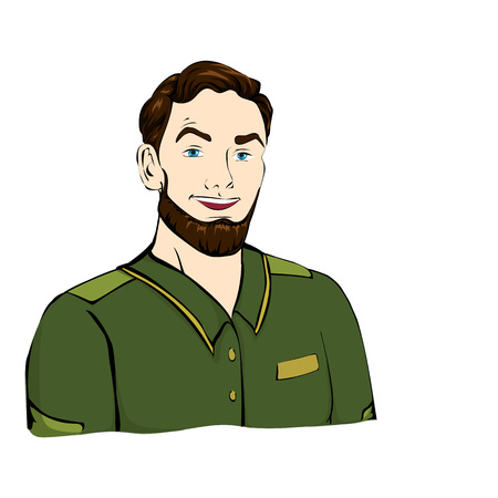 dispatcher: Forester, military with the hairstyle in green jacket, shirt Stock Photo