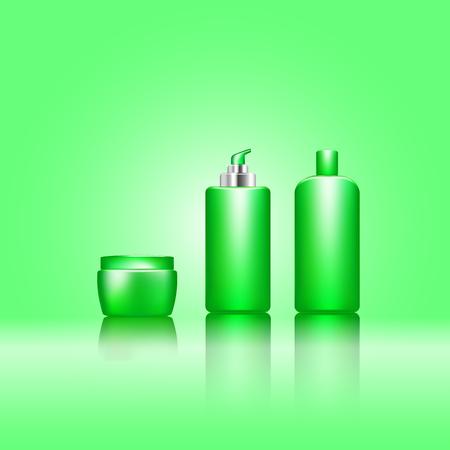 Premium cosmetic ads, green bottle . 3D vector illustration. Illustration