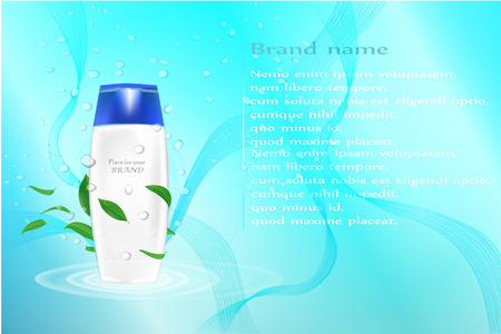Design of the natural shampoo, essence,  package for skin, hair care on blue water background