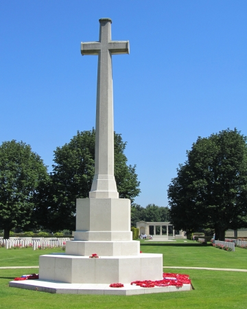 The Cross of Sacrifice memorial, at the Bayeux Military Cemetery, Normandy  It is the largest Second World War cemetery of Commonwealth soldiers in France