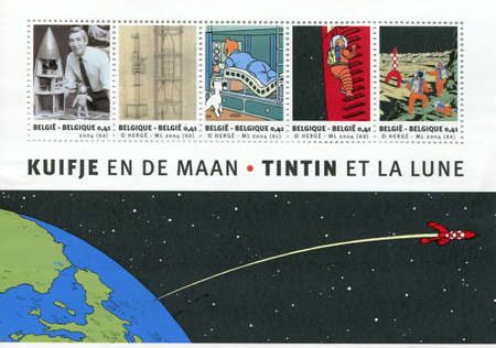 collectable: Belgium, Circa 2004: Commemorative stamps to mark the 75th anniversary of Tintin, the 50th anniversary of the book Explorers on the Moon and the 35th anniversary of Neil Armstrongs moon landing.