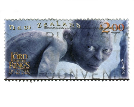 New Zealand, Circa 2002: Specially issued stamp for The Lord of the Rings film release, depicting the character Gollum..