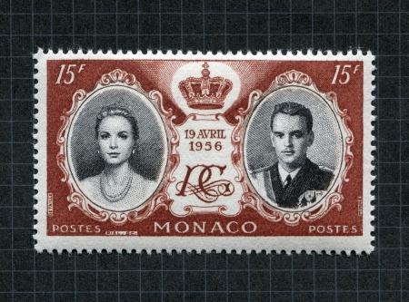 commemorative: Monaco, April 19th, 1956: Special commemorative stamp to mark the marriage of Prince Rainier III and actress Grace Kelly.
