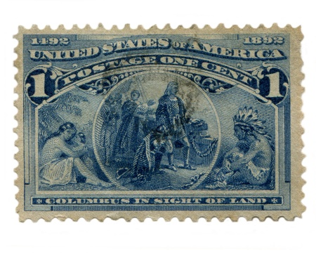 conjunction: USA circa 1892: One of 16 stamps issued in conjunction with the Columbian Exposition of 1893 commemorating the 400th anniversary of the landing of Columbus. Editorial