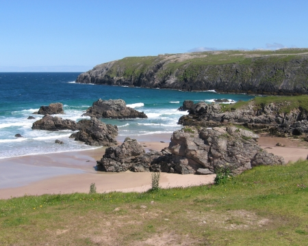 unspoilt: A view of the beautiful and unspoilt beach at Sango Bay, Durness in the far North West of Scotland, UK.
