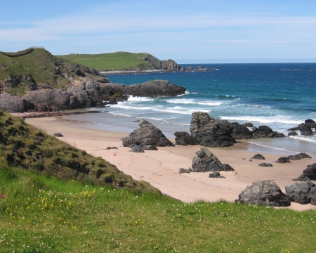 unspoilt: A view of the beautiful and unspoilt beach at Sango Bay, Durness in the far North West of Scotland, UK