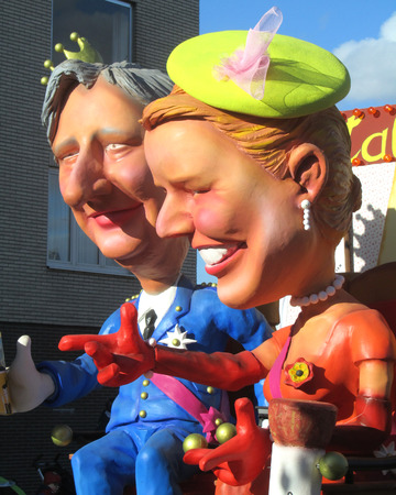 intangible: AALST, BELGIUM, MARCH 03 2014  Caricatures of King Filip and Queen Mathilde of Belgium, during the annual carnival parade in Aalst, which is a UNESCO recognised event of Intangible Cultural Heritage